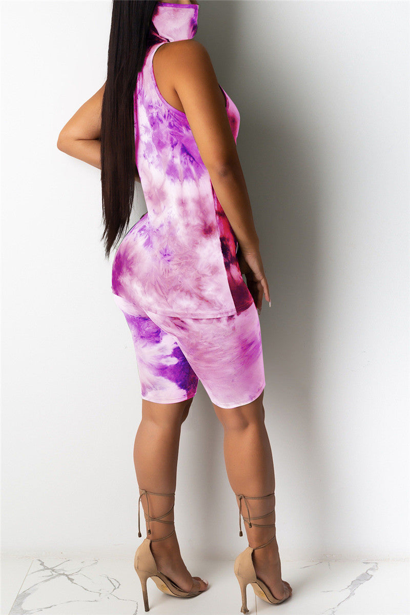Tie Dye Mask Top& Shorts Sets