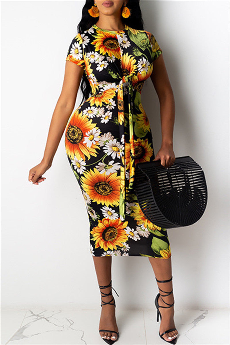 Sunflower Printed Bandage Midi Dress