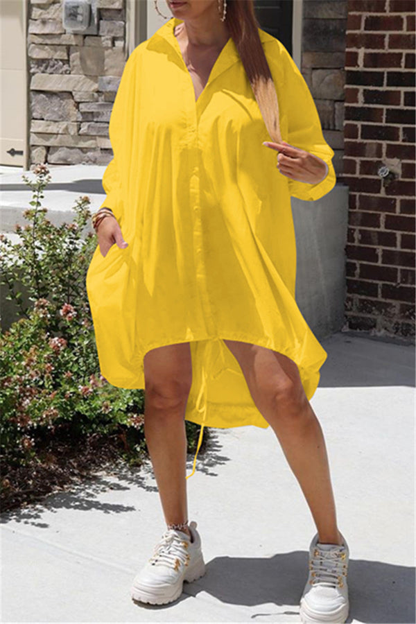 Irregular Hem Drawstring Shirt Dress