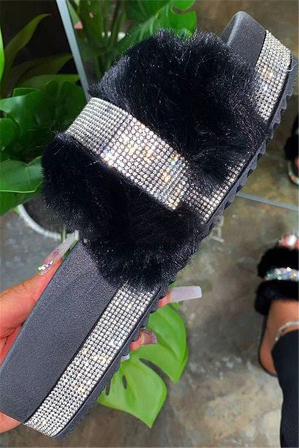 Rhinestone Fur Open Toe Slippers