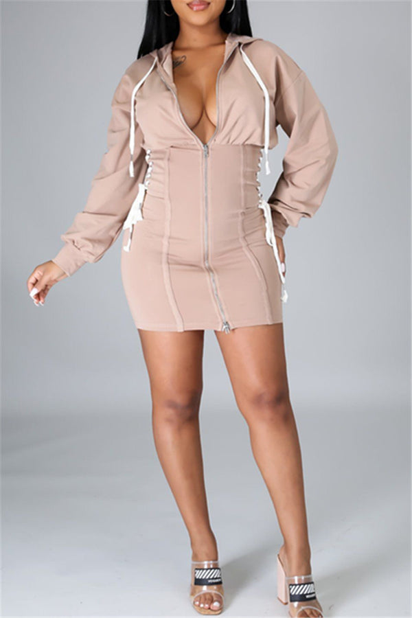 Bandage Hooded Zipper Dress