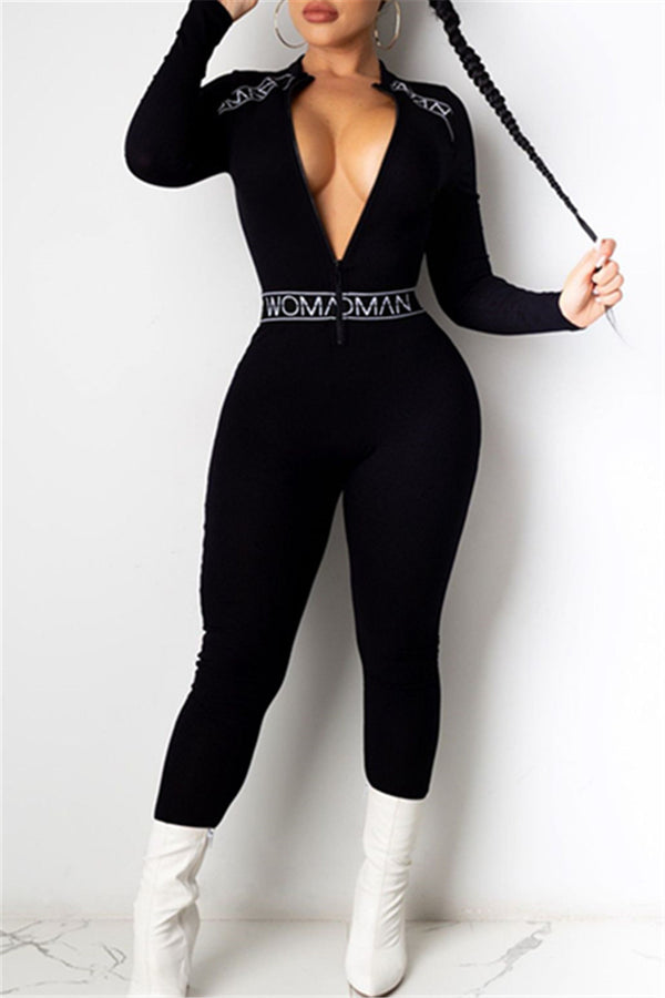 Ribbon Splicing Zipper Jumpsuit
