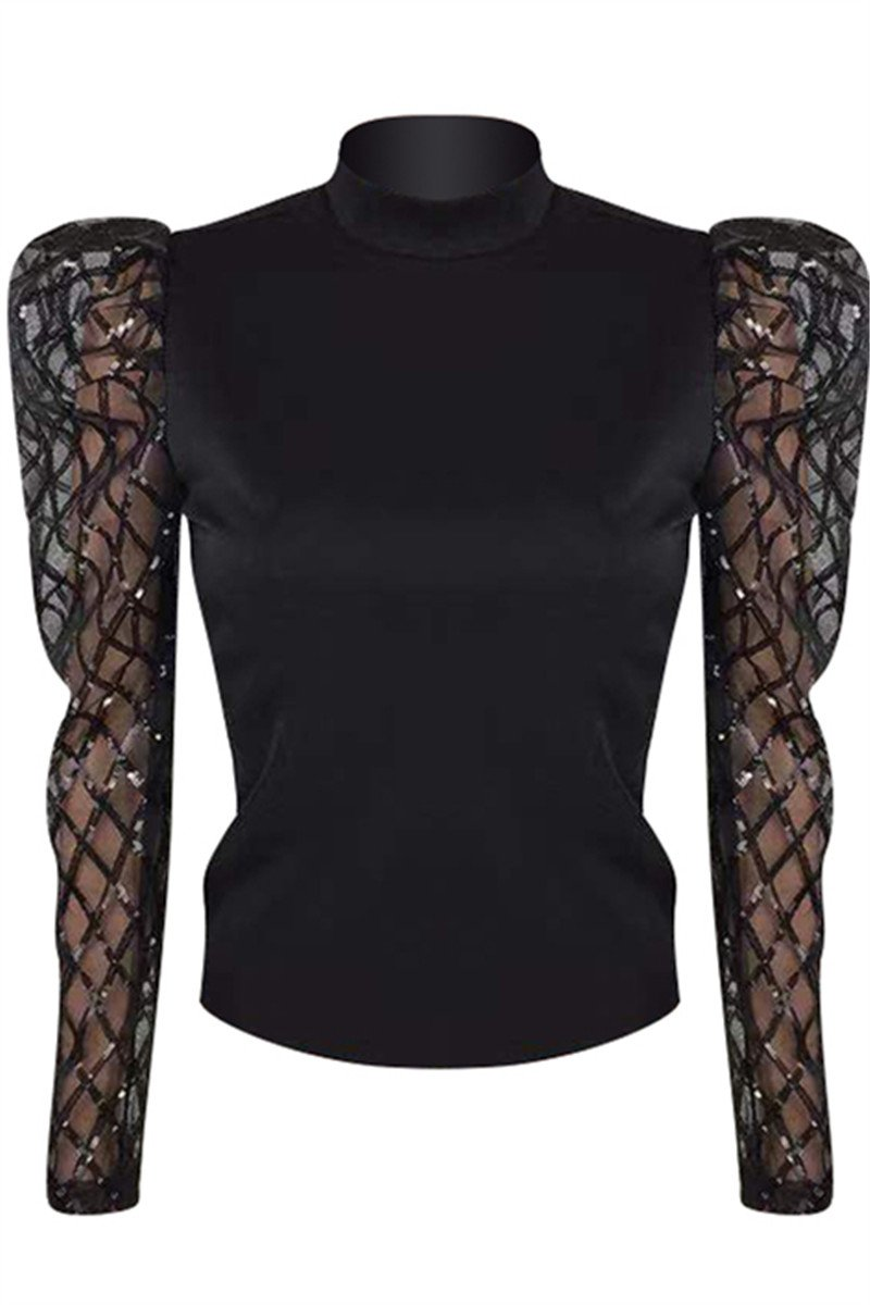 Hollow Out Net Yarn Sleeve Top