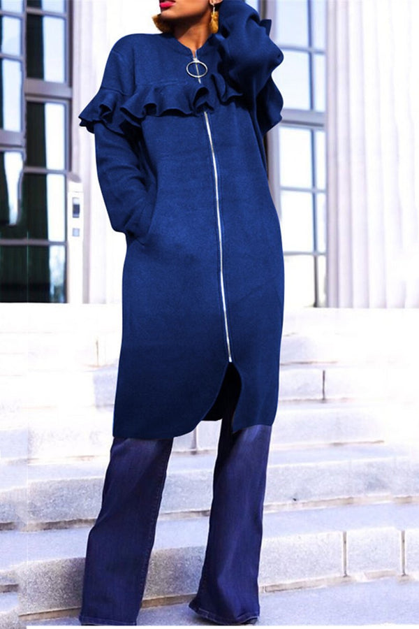 Plus Size Ruffle Splicing Coat