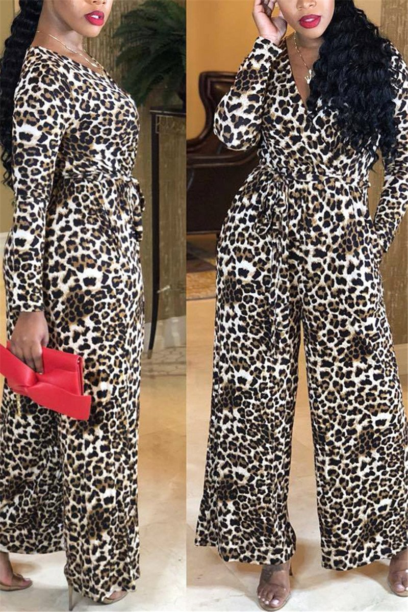 Leopard Printed Jumpsuit With Belt