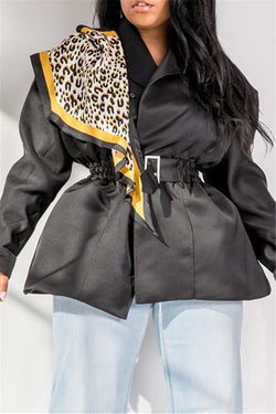 Leopard Printed Splicing Coat