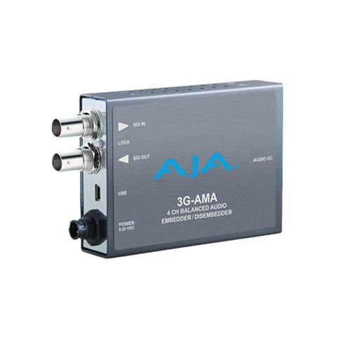 AJA 3G-AMA  DI 4-Ch Analog Audio Embedder/Disembedder bal. XLR USB Mini-Config support