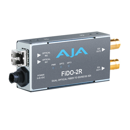 AJA-FiDO-2R-MM  2-Channel Multi-Mode LC Fiber to 3G-SDI Receiver