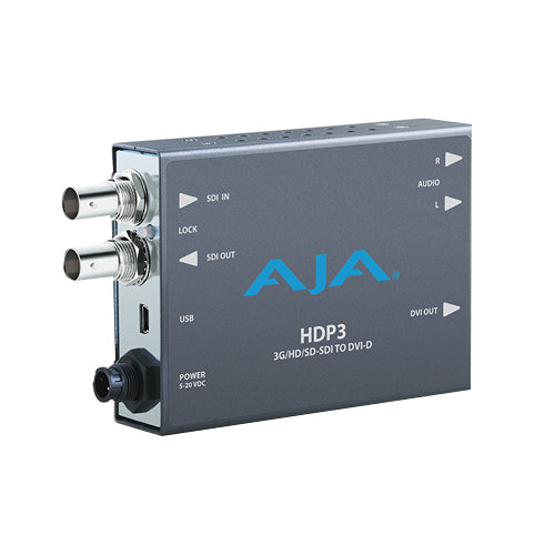 AJA-HDP3 3G-SDI to DVI w/ 1080p 650/60  support and 2-Ch unbal. audio output