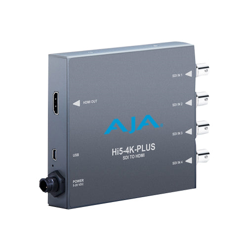 AJA-Hi5-4K-Plus  4K/UltraHD 4 x 3G-SDI to 4K HDMI 2.0 with 60p support also supports HD-SDI to HD-HDMI