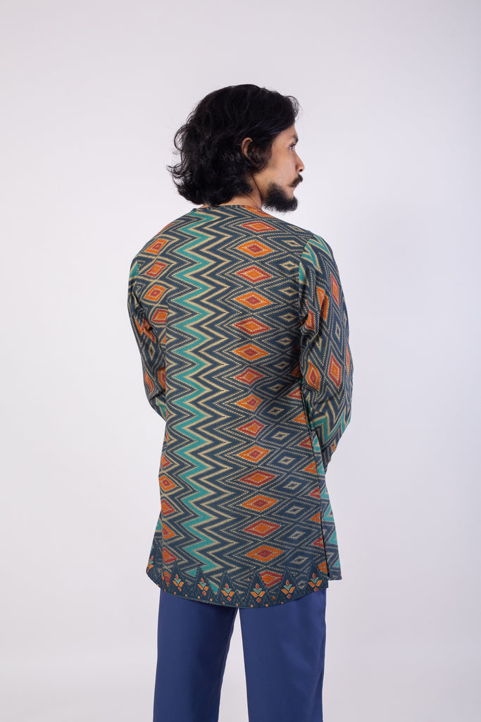 Blue Ikat Diamonds Batik Top