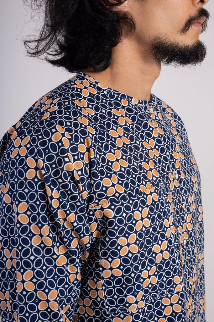Navy Salmon Drops Batik Top