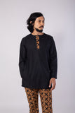 Traditional Black Kurta Telok Belangah Batik Top