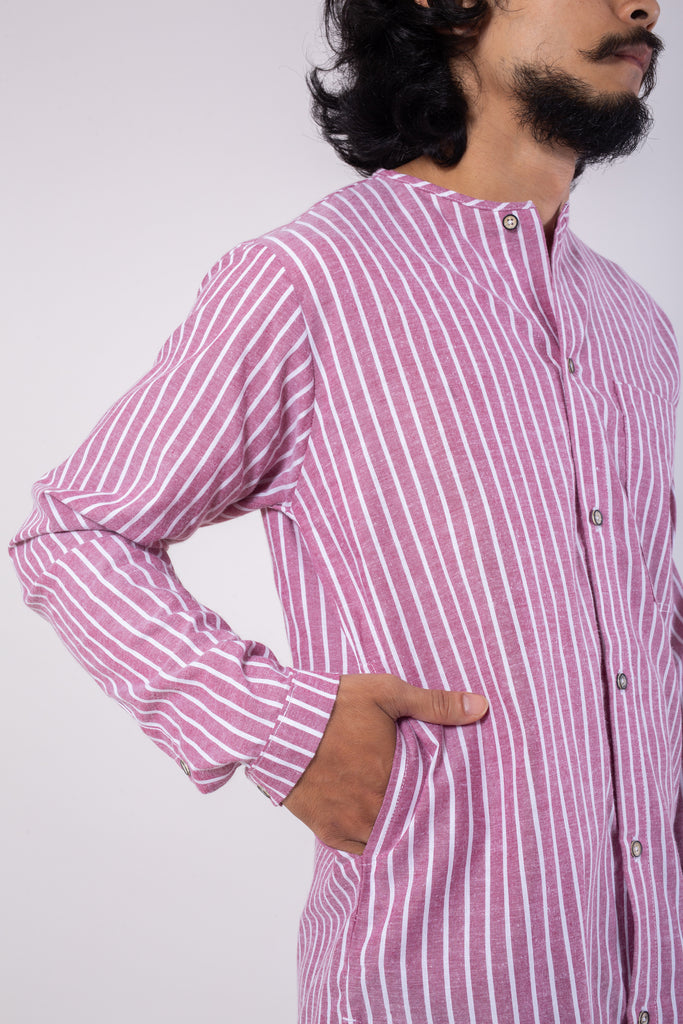 Striped Cotton Button Through Top