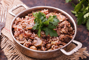 Pressure Cooker - Mushroom Brown Rice Pilaf