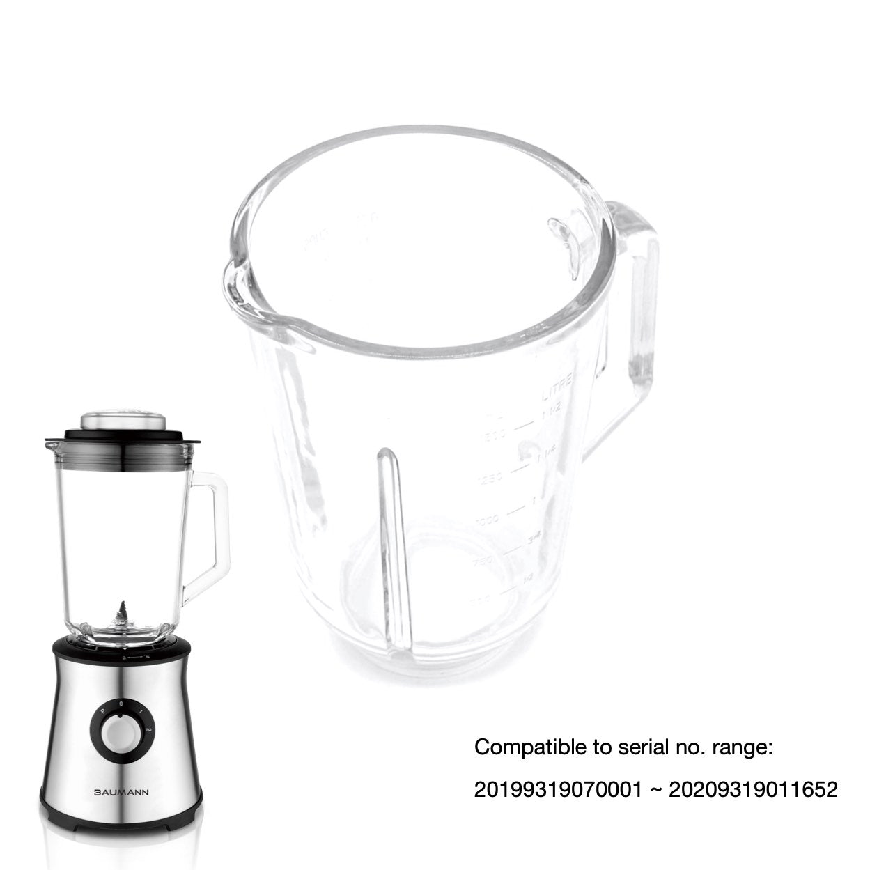BM-BL9319AGS N 1.5L Glass Blender Glass Jar