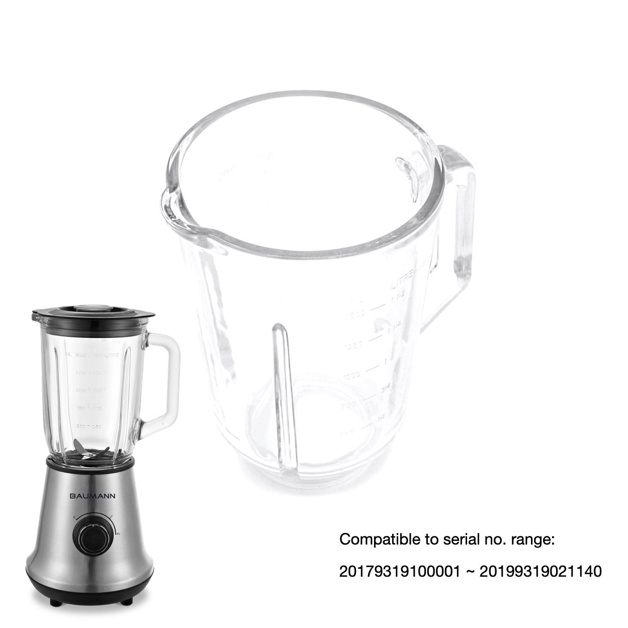BM-BL9319AGS 1.5L Glass Blender Glass Jar
