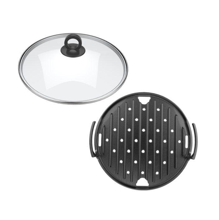 BM-DGW60280A Duo Grill Plate and Slow Cooker Tempered Glass Lid Set
