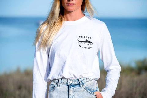 Tiger Shark Long Sleeve T-Shirt -White
