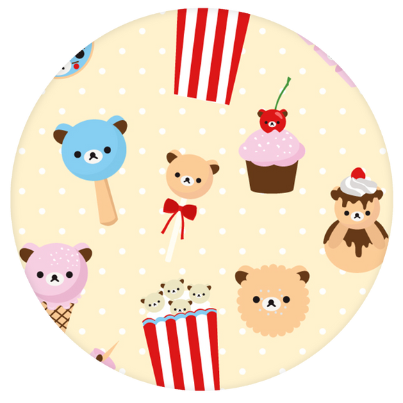 Bear Pop-Grip: Popcorn and Food Pattern Pop-Grip