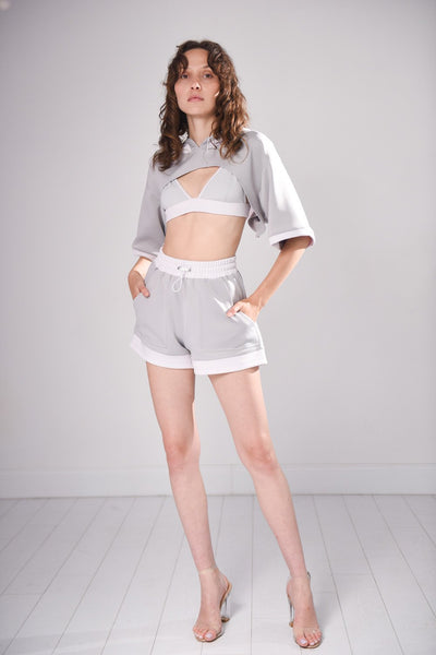 Utophic Grey Cropped Hoodie
