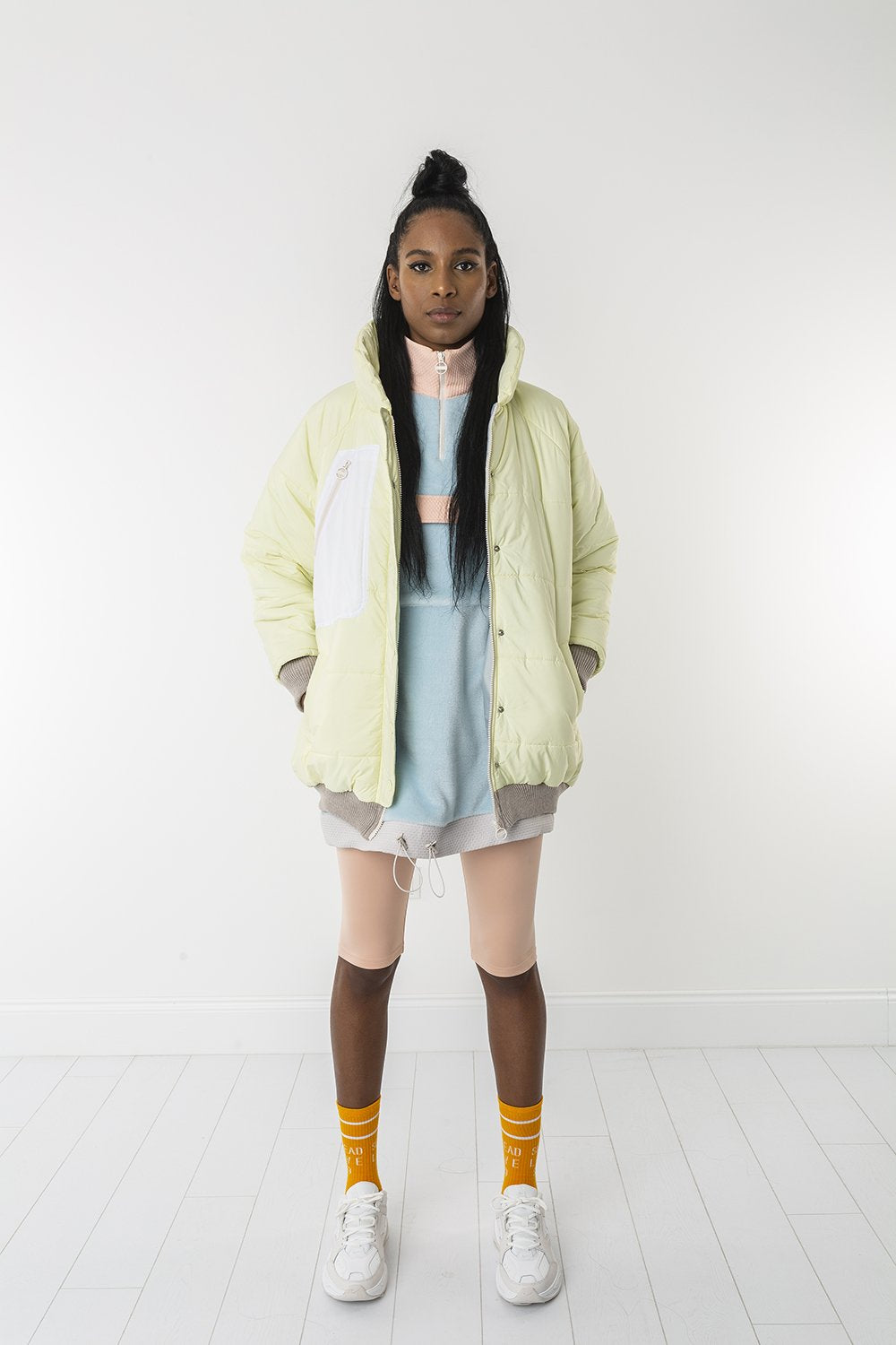 Lemon lime puffer jacket