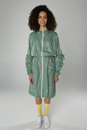 Green wave raincoat