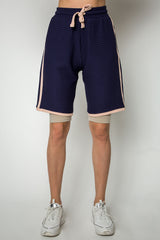Contrast trim textured boyfriend short