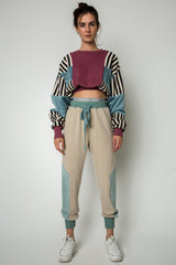 ''Bordeaux'' cropped line blocked sweater