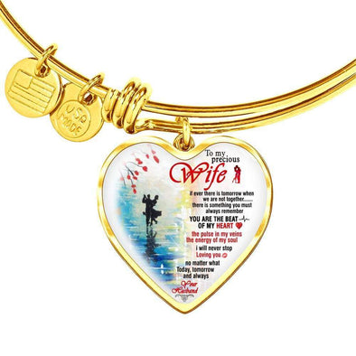 Bracelet For Wife Heart Pendant Gold Bangle / No Bangle For My Precious Wife **Valentine Present**