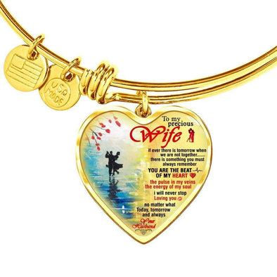 Bracelet For Wife Heart Pendant Gold Bangle / No Bangle For My Precious Wife **With Transparency**