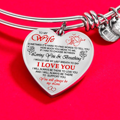 "Bracelet For Wife ""I Will Always Be There To Love You"" Bracelets For Wife"