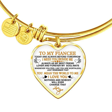 "Bracelet For Wife Heart Pendant Gold Bangle / No To My Fiancee ""Forever My Soulmate"" Valentine Gift"