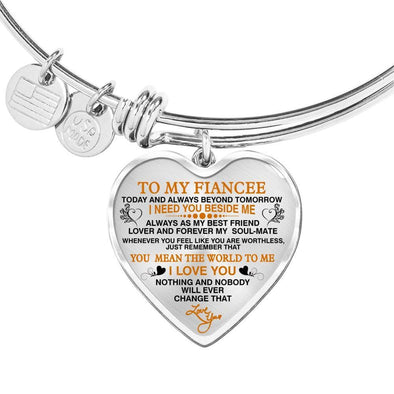 "Bracelet For Wife Heart Pendant Silver Bangle / No To My Fiancee ""Forever My Soulmate"" Valentine Gift **With Transparency**"