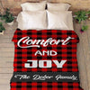 "Customized Blanket 60""x80"" / Red Comfort And Joy, Personalized Blanket For Family"