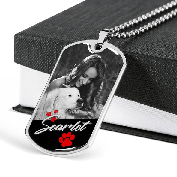 Jewelry Military Chain (Silver) Customized Pet Name & Image Necklace