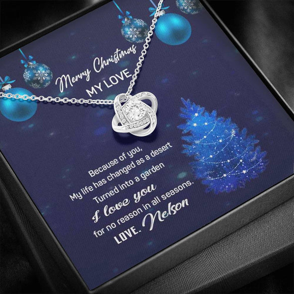 "Jewelry ""Merry Christmas My Love"" Customized Knot Pendant"