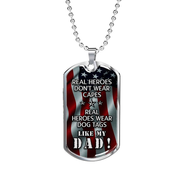 Jewelry Real Heroes Wear Dog Tag Like My Dad Necklace
