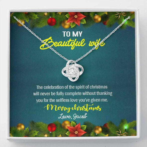 "Jewelry ""To My Beautiful Wife"" Customized Pendant For Christmas"