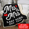 "Personalized Blanket Adult-Best Selling-60""X80"" / Black Custom LGBT Mrs & Mrs Love Blanket With Wedding Year"