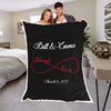 "Personalized Blanket ADULT - 60""X80"" BEST SELLER / Black Eternal Love Couples Blanket"