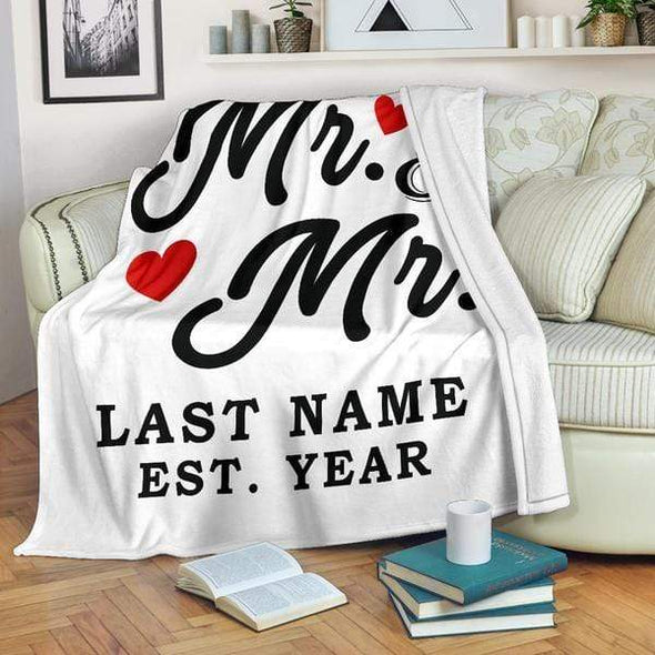Personalized Blanket Mr & Mr LGBT Personalized Blanket With Name And Wedding Year