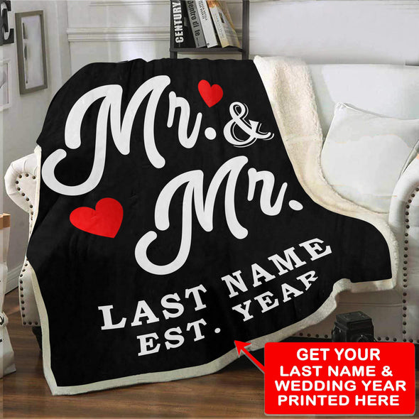 "Personalized Blanket Adult-Best Selling-60""X80"" / Black Mr & Mr LGBT Personalized Blanket With Name And Wedding Year"