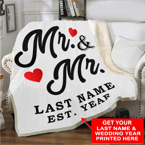 "Personalized Blanket Adult-Best Selling-60""X80"" / White Mr & Mr LGBT Personalized Blanket With Name And Wedding Year"