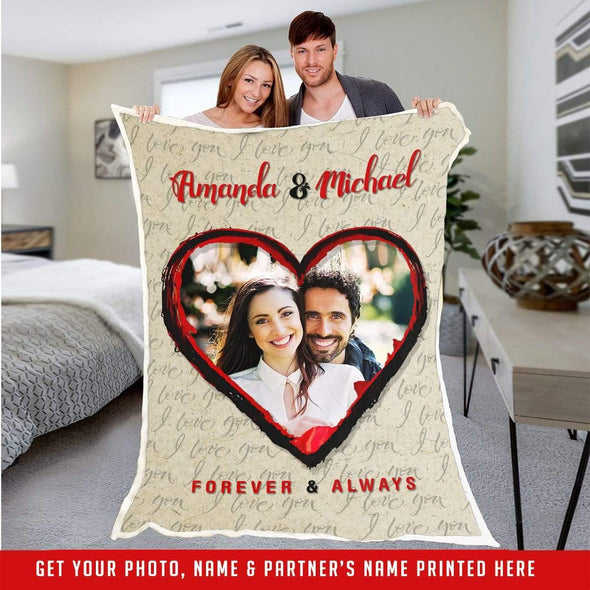 "Personalized Blanket Beige / Adult-Best Selling-60""X80"" Personalized Heart Picture Fleece Blankets"