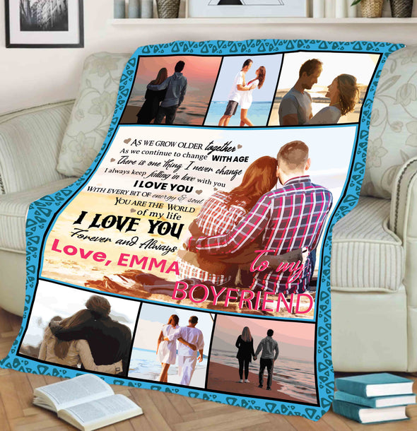 "Personalized Blanket ""To My Boyfriend You Are The World Of My Life""- Personalized Blanket"
