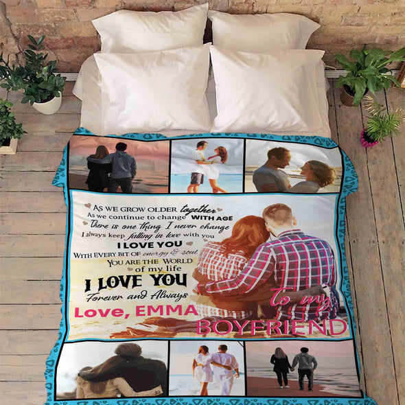 "Personalized Blanket Adult-Best Selling-60""X80"" ""To My Boyfriend You Are The World Of My Life""- Personalized Blanket"