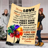 "Personalized Blanket ""To My Love Your First Love Your First Kiss""- Personalized Blanket"