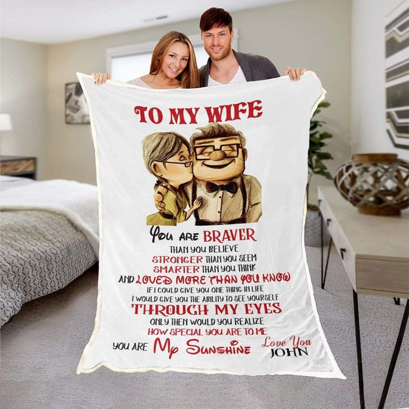 "Personalized Blanket 50""x60"" / WHITE To My Wife Personalized Blanket"