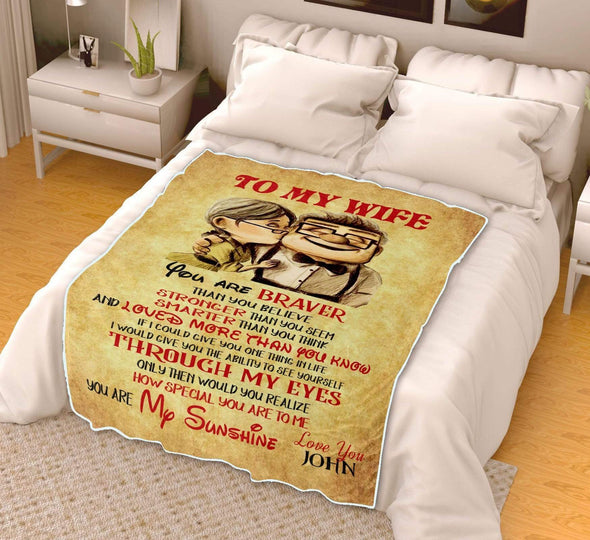 "Personalized Blanket 60""X80"" / RUSTIC YELLOW To My Wife Personalized Blanket"